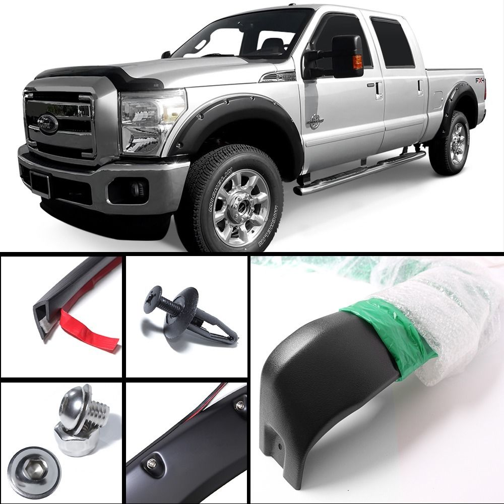 4pcs Pocket-Riveted Textured Fender Flares fit 11-15 Ford F-250/